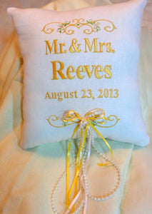 Ring Bearers Pillow - Wedding Pillow - Embroidered Ring Bearers Pillow - Personalized Wedding Pillow - Julie Butler Creations