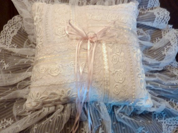 Ring Pillow - Wedding Pillow - Satin and lace pillow - White satin with 6inch lace ruffle - Julie Butler Creations