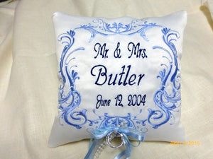 Ring Bearers Pillow - Wedding Pillow - Embroidered Ring Bearers Pillow - Personalized Wedding Pillow