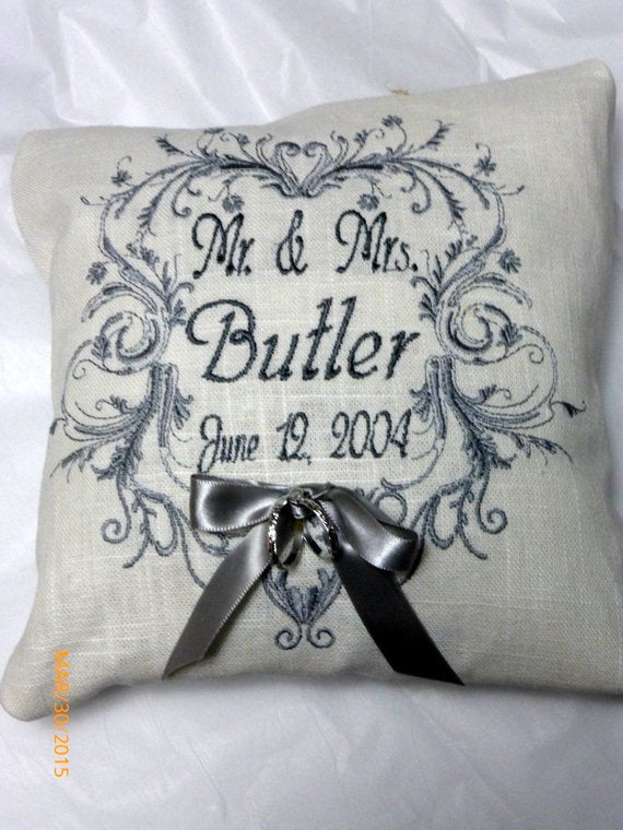 Ring Bearers Pillow - Wedding Pillow - Embroidered Ring Bearers Pillow - Julie Butler Creations