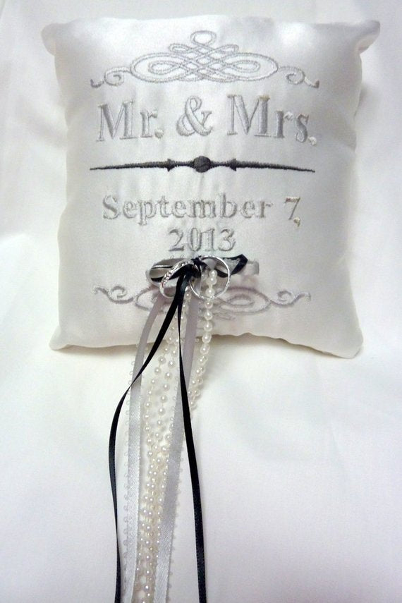 Ring Bearers Pillow - Wedding Pillow - Embroidered Ring Bearers Pillow - Personalized Wedding Pillo - Julie Butler Creations
