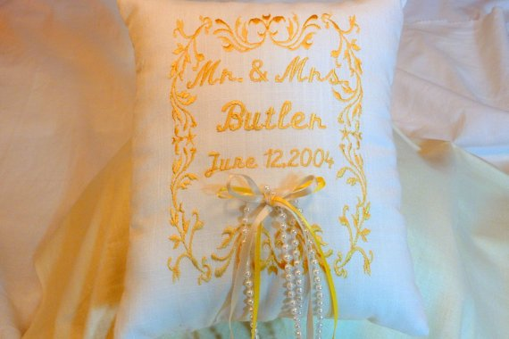 Ring Bearer Pillow - Wedding Pillow - Embroidered Ring Bearer Pillow - Personalized Wedding Pillow