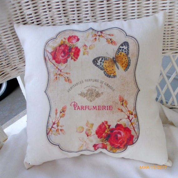 French accent pillow - Paris pillow - Red Roses and orange and black butterfly - French themed - Julie Butler Creations