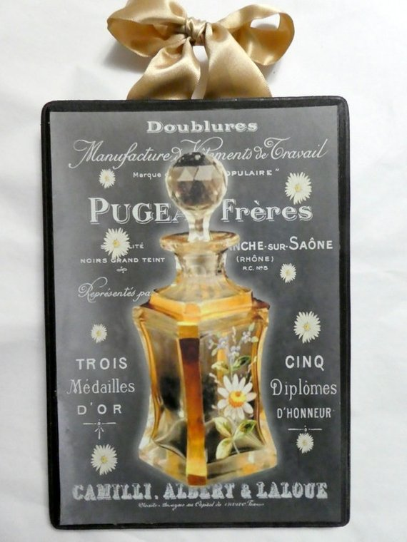 Paris Perfume Chalkboard Wood Plaque - Vintage Paris perfume ad - Julie Butler Creations