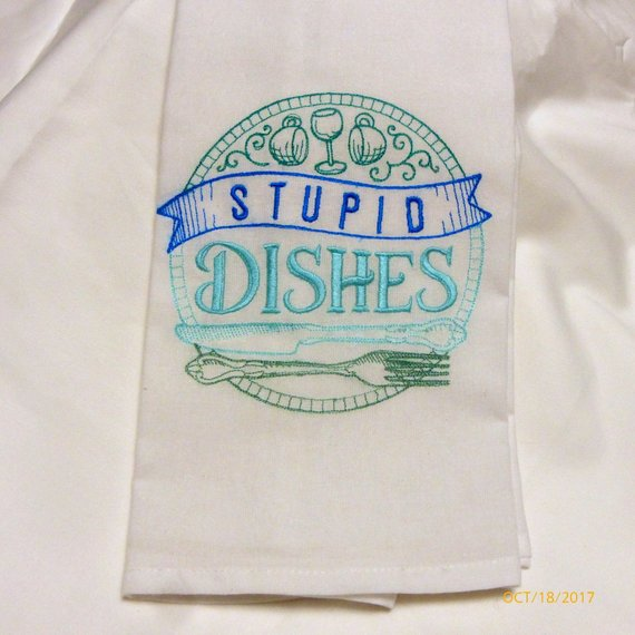 Flour Sack Towels - Embroidered kitchen towel - Tea Towel - embroidered Towels - Kitchen towel - Julie Butler Creations