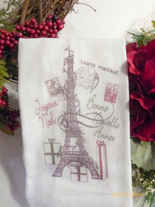 Paris Christmas Towel - Eiffel tower -Tea Towel - Flour Sack Towel - Kitchen towel - Hostess Gift - Julie Butler Creations