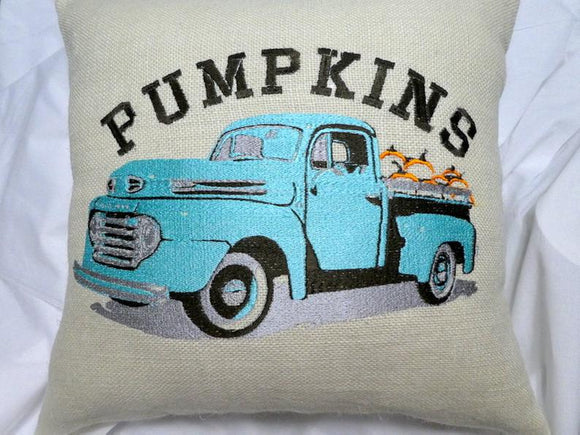 Pickup Truck pillow cover - Embroidered Burlap pillow cover - Farmhouse pillows - Fall pillow cover