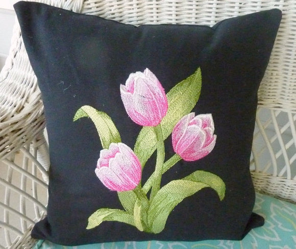 Embroidered Pillow cover, Bed pillow, Tulip pillow cover, decorative pillows, pillows with flowers - Julie Butler Creations