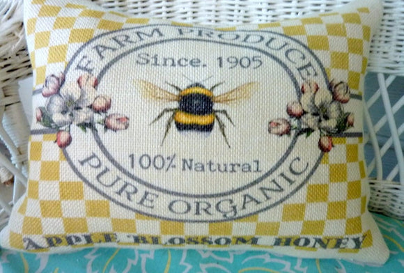 Bee Pillow Cover, Burlap Pillow cover, Honey Bee pillows, Farm house pillow cover - Julie Butler Creations
