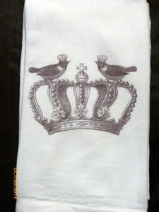 Flour Sack Towel - Bird Towel - Paris Kitchen towel - Crown - Tea towel - dish towel - 100% cotton - Julie Butler Creations