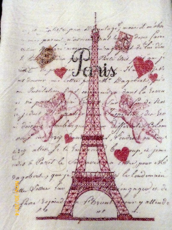 Paris Valentines towel - Flour Sack Towel- 100% cotton - kitchen towel - Julie Butler Creations