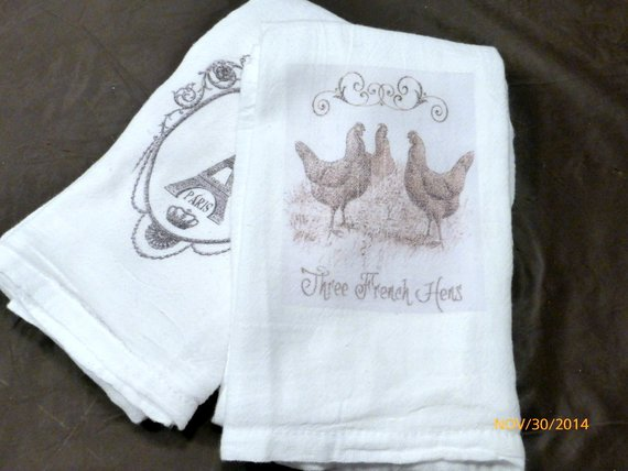 Flour Sack Towel - Bird Towel - Kitchen towel - 3 French hens dish towel - 100% cotton - Julie Butler Creations