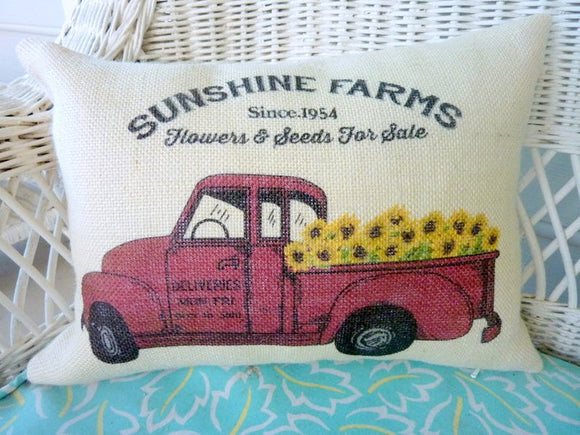 Red Truck Pillow Cover, Burlap Pillow cover, Sunflower pillows, Farmhouse pillow cover - Julie Butler Creations