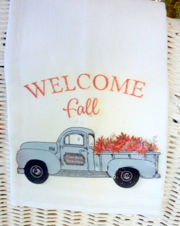 Fall Flour Sack Towels, Farmhouse Truck decor, Kitchen towel, dish towel, Farmhouse decor