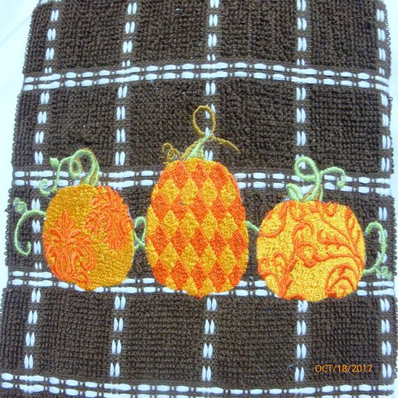 Embroidered Thanksgiving towel - Tea Towels - Embroidered Kitchen towel - Towels