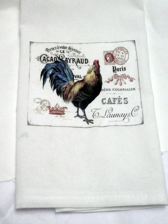 Rooster Flour Sack Towel - Kitchen towel - Hostess Gift - 100% cotton - Julie Butler Creations