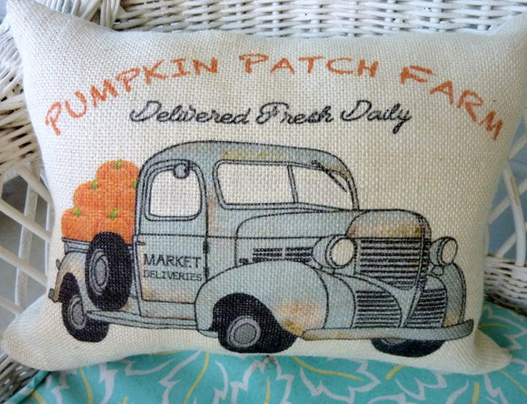 Fall burlap Pillow Cover, Vintage truck Pillow cover, Fall decorations, Farmhouse pillow cover, Pumpkin pillow cover - Julie Butler Creations