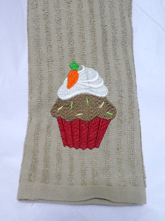 Embroidered Cupcake dish towel - Kitchen Towels - dish towel - embroidered cupcake