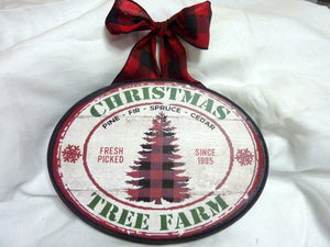 Buffalo Plaid Christmas decorations, Wood sign, Red truck Christmas Tree Farm - Julie Butler Creations