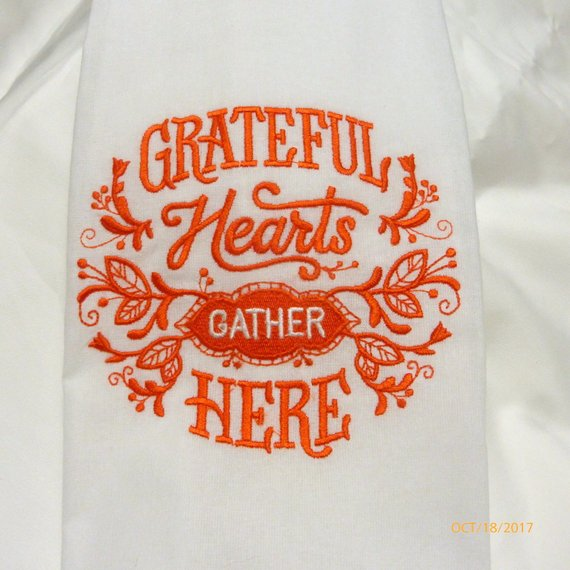 Thanksgiving towels - Embroidered Flour sack towels - Tea Towel - embroidered Towels - Kitchen towel