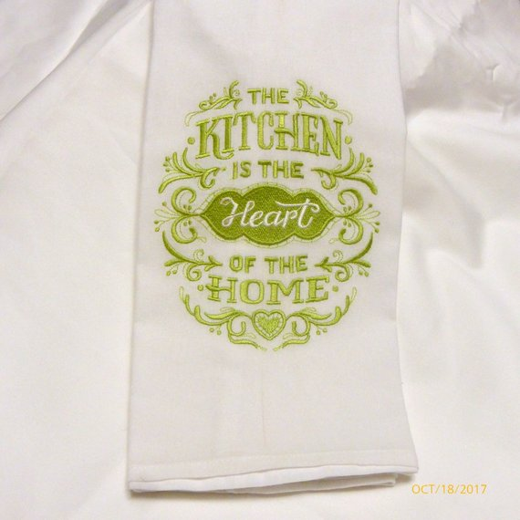 Embroidered kitchen towels - Flour sack towels - Tea Towel - embroidered Towels - Kitchen towel - Julie Butler Creations