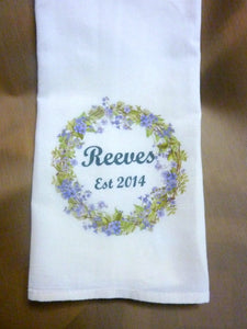 Personalized gift - Farmhouse Towel - Flour Sack Towel - Wedding gift - Name and Est date