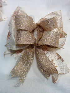 Glittered Christmas tree bows, set of 8 bows, Glittered tree bows, Christmas tree decorations