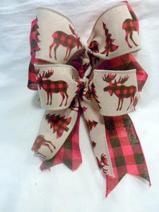 Buffalo plaid tree bows, buffalo plaid Christmas bows, set of 8 bows, Lodge look bows