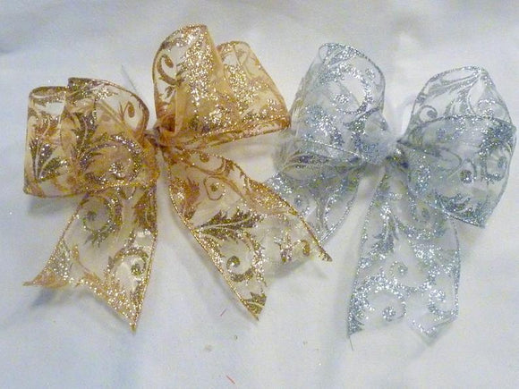 Christmas tree bows, Christmas bows, set of 8 bows, Christmas tree decorations, set of 8