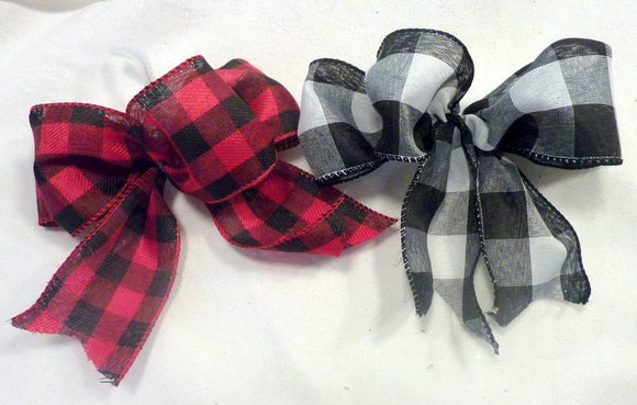 Christmas tree bows, buffalo plaid Christmas bows, set of 8 bows, Farmhouse Christmas bows