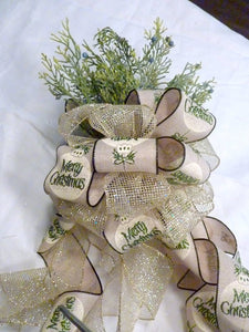 Green and Gold Ribbon Tree topper, Bow Tree Topper, Christmas tree topper, Christmas decorations - Julie Butler Creations