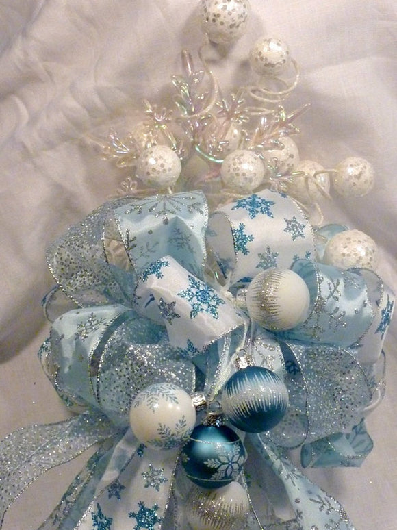 Christmas Snowflake Tree topper, Snowflake Ribbon 10topper, Tree decorations, Bow Tree Topper, Christmas decorations