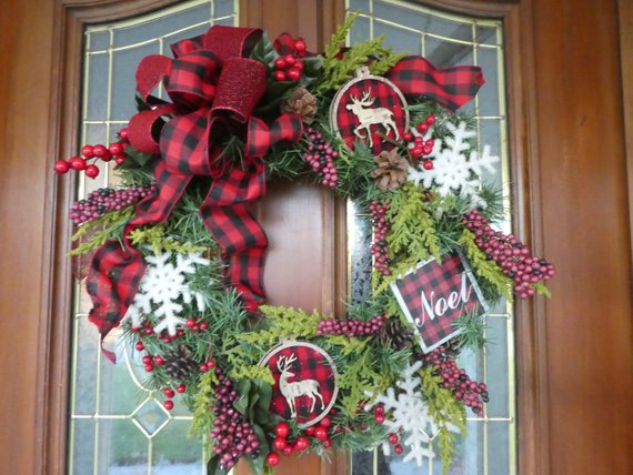 Red and Black Buffalo plaid Christmas Wreath - Christmas Decorations - Holiday decorations