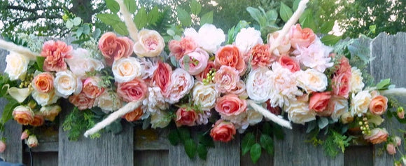 Wedding Arch Flowers, Wedding Flowers, Coral Wedding Arbor Decorations - Julie Butler Creations