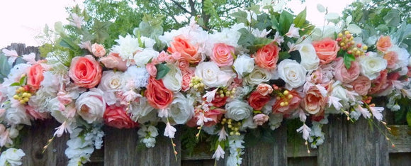Wedding Arch in Coral and White, Wedding Flowers, Wedding Arbor Decorations