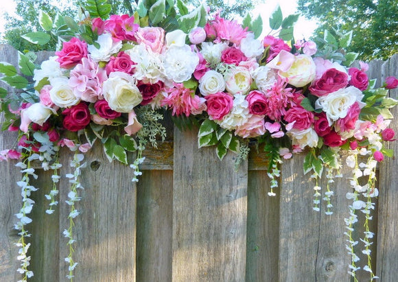 Fuschia Wedding flowers, Rose Arbor swag, Wedding Flowers, Wedding Arch Decorations - Julie Butler Creations