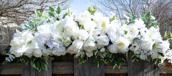 White Rose Wedding Arch - White Rose Arbor swag - White Wedding Flowers - Wedding Arbor Decorations - Julie Butler Creations
