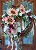 Sunflower Farmhouse Wreath - Sunflower and Cotton wreath- Farmhouse decor - front door wreath - Sunflower wreath