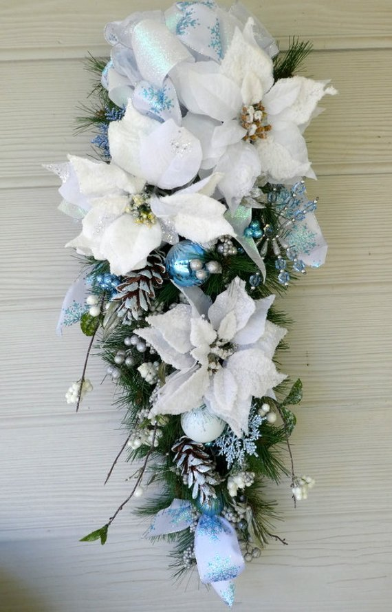 Blue Snowflake Christmas Door Swag - Christmas Wreaths -Poinsettia door swags - Julie Butler Creations