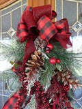 Red and Black buffalo plaid Door Swag -Christmas door swag - Farm House Christmas