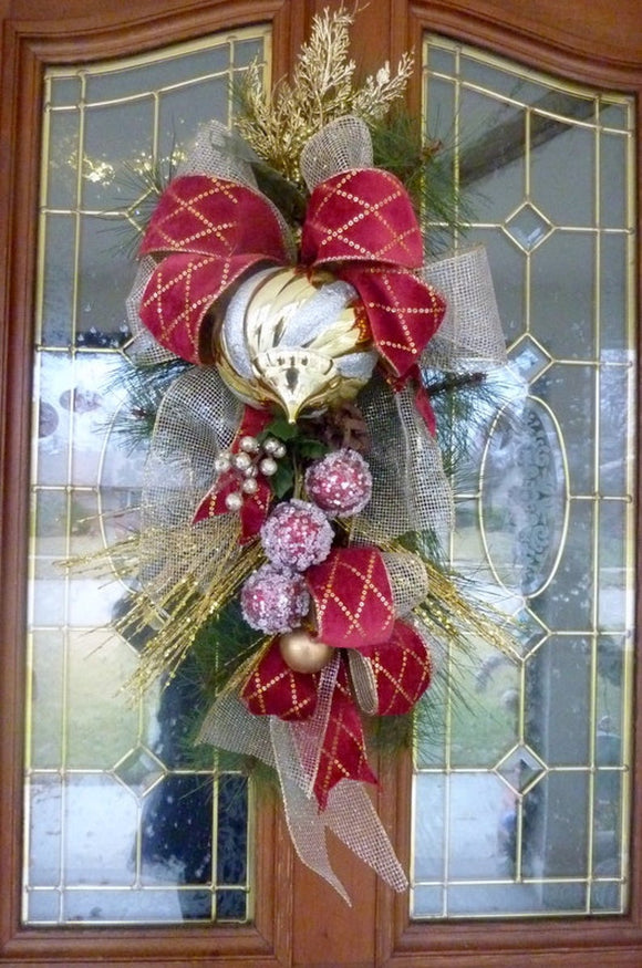 Rose Door Swags - Summer swags - Spring Wreaths - Pink Teardrop swag - French Country Decor