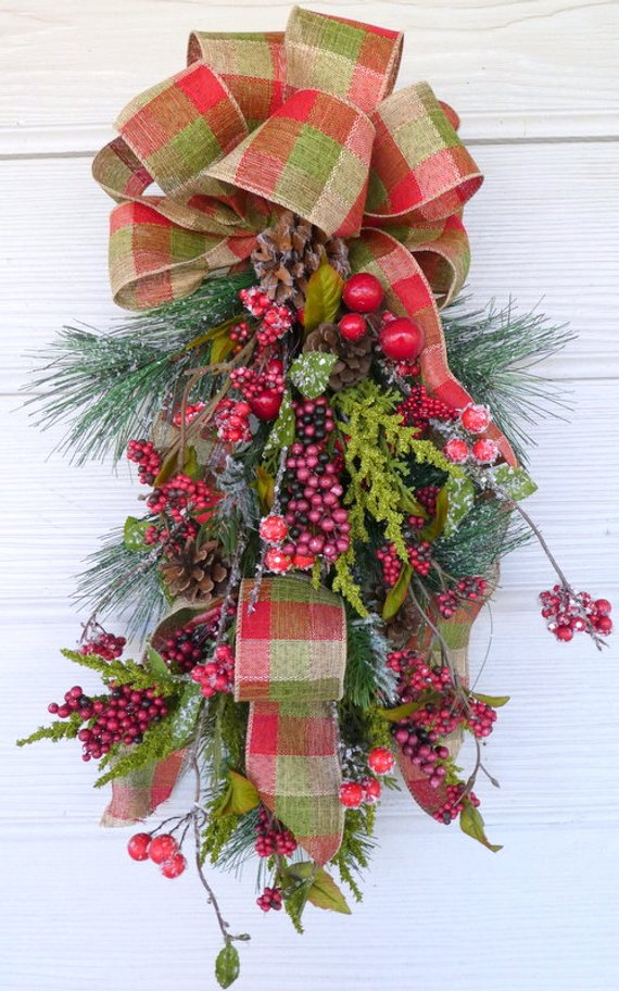 Christmas cedar Door Swag - Christmas Wreaths - Christmas door swags - Wreaths - Julie Butler Creations
