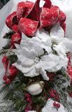 Red and White Poinsettia Door Swag  - Christmas door swag