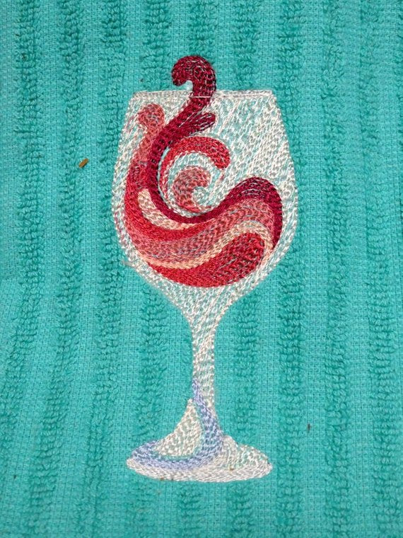 Embroidered towel - Towels - dish towel -Embroidered red wine glass