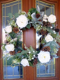 Rose and pinecone Christmas Wreath - Christmas Decorations - Christmas Wreaths - white rose wreath