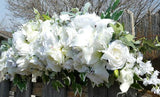 White Rose Wedding Arch - White Rose Arbor swag - White Wedding Flowers - Wedding Arbor Decorations