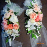 Wedding Arch and Tiebacks - Pink, coral, white and Ivory Roses -Wedding Decorations