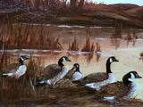 Wildlife Art - Oil Painting of Canadian Geese at sunset 12x24 - original oil paintings