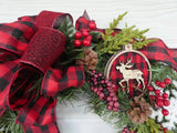 Red and Black Buffalo plaid Christmas Wreath - Christmas Decorations - Holiday decorations - Julie Butler Creations