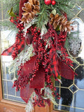 Red and Black buffalo plaid Door Swag -Christmas door swag - Farm House Christmas - Julie Butler Creations